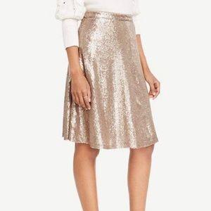 Ann Taylor Gold Sequin Skirt 0p Full A-Line NWT